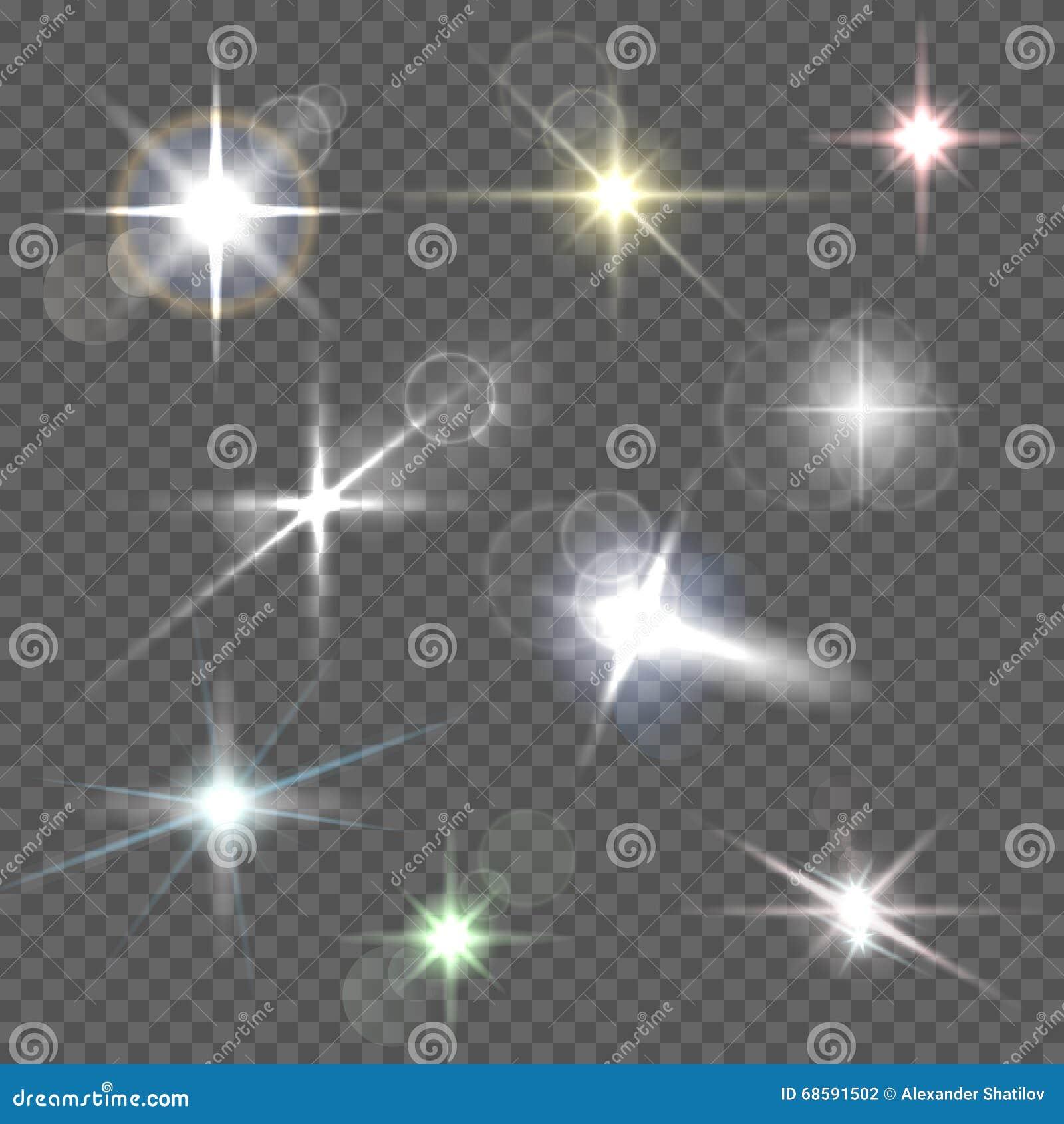Realistyczni obiektywów raców gwiazdy światła i jarzeniowi biali elementy na przejrzystej tło wektoru ilustraci