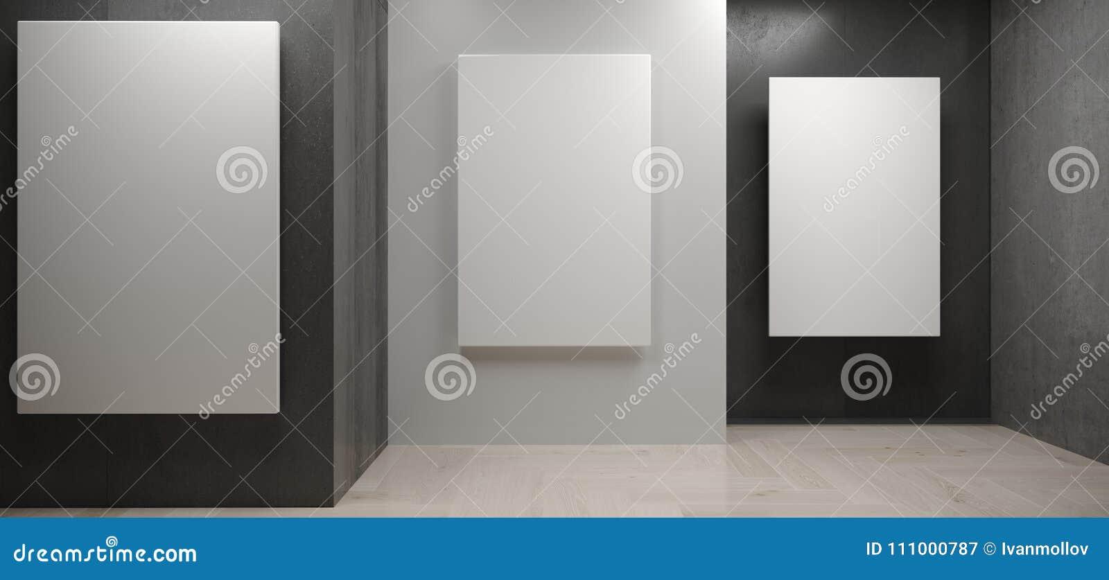 Realistyczny Betonowy pokój Z Białymi plakatami Na ścianach