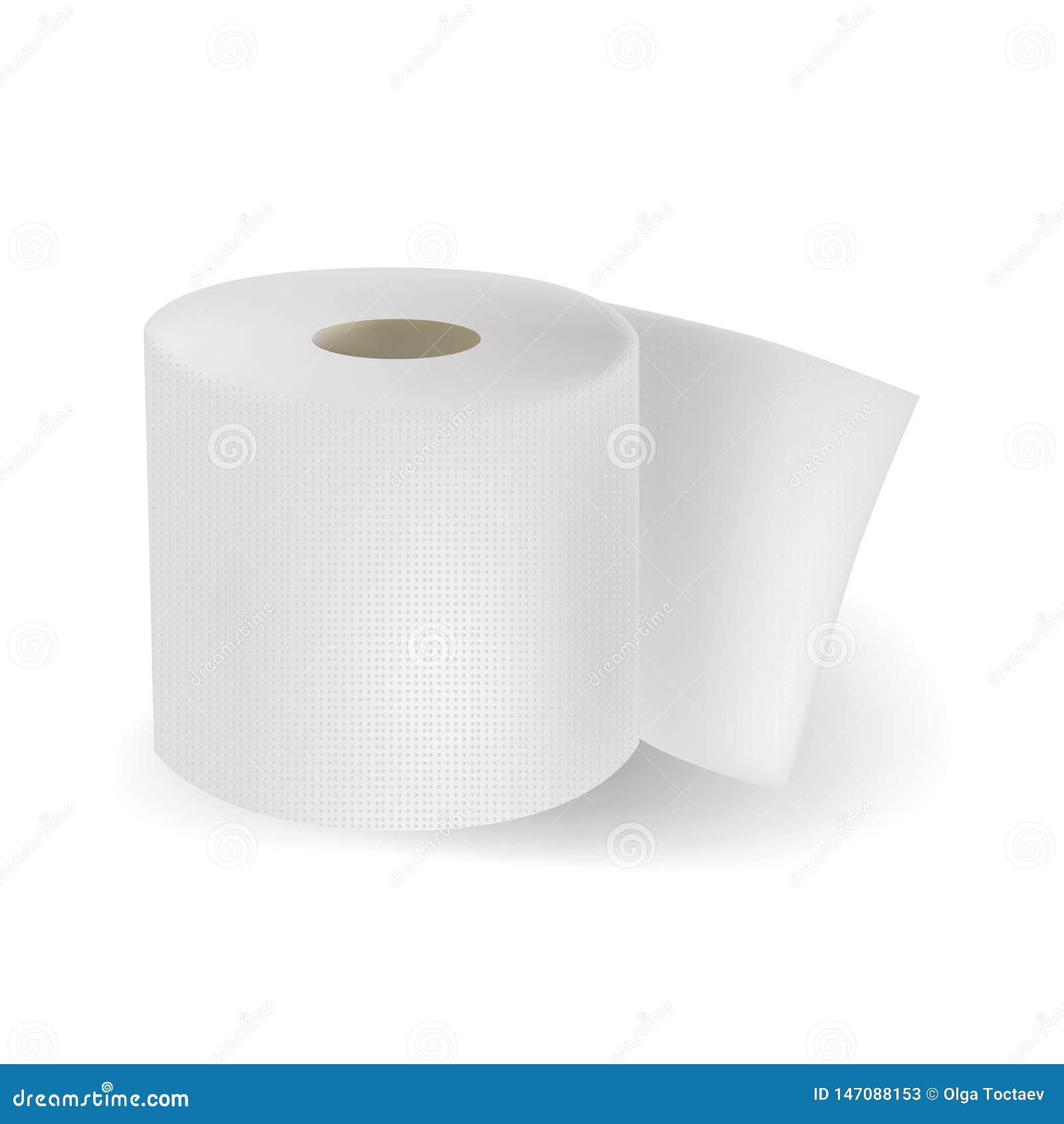 Realistyczny biały textured papier toaletowy odizolowywający na vhite tle r?wnie? zwr?ci? corel ilustracji wektora
