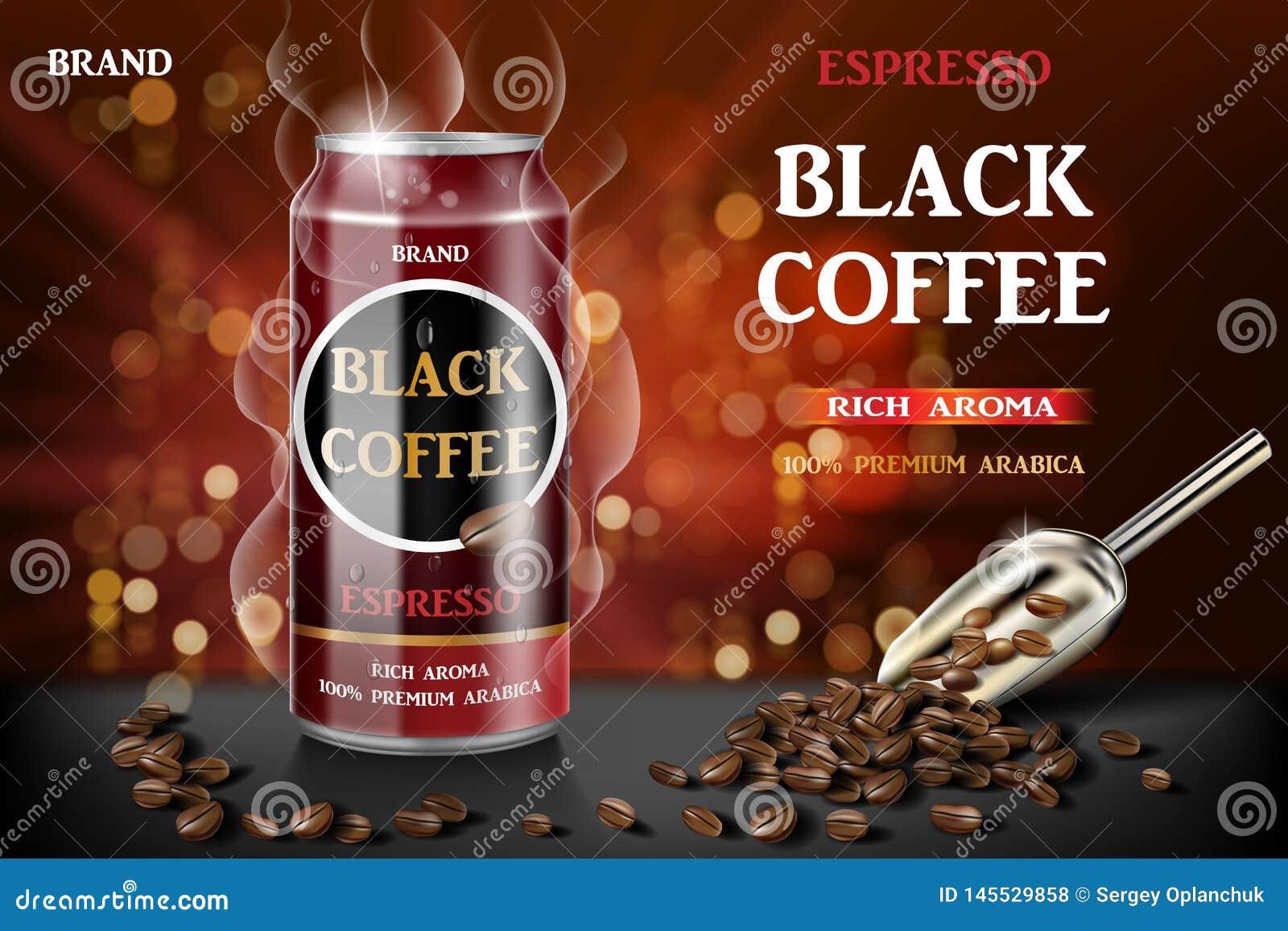 Realistyczny czer? konserwowa? kawy espresso kaw? z fasolami w 3d ilustracji Produktu napoju kawowy projekt z bokeh t?em