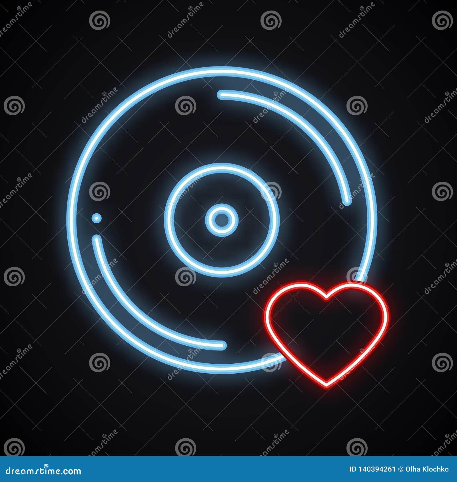 Realistyczny jaskrawy neonowy winylu znak Rozjarzony muzyczny symbol Ulubiona piosenka Klub, rejestr, dyskoteka, taniec, życie no