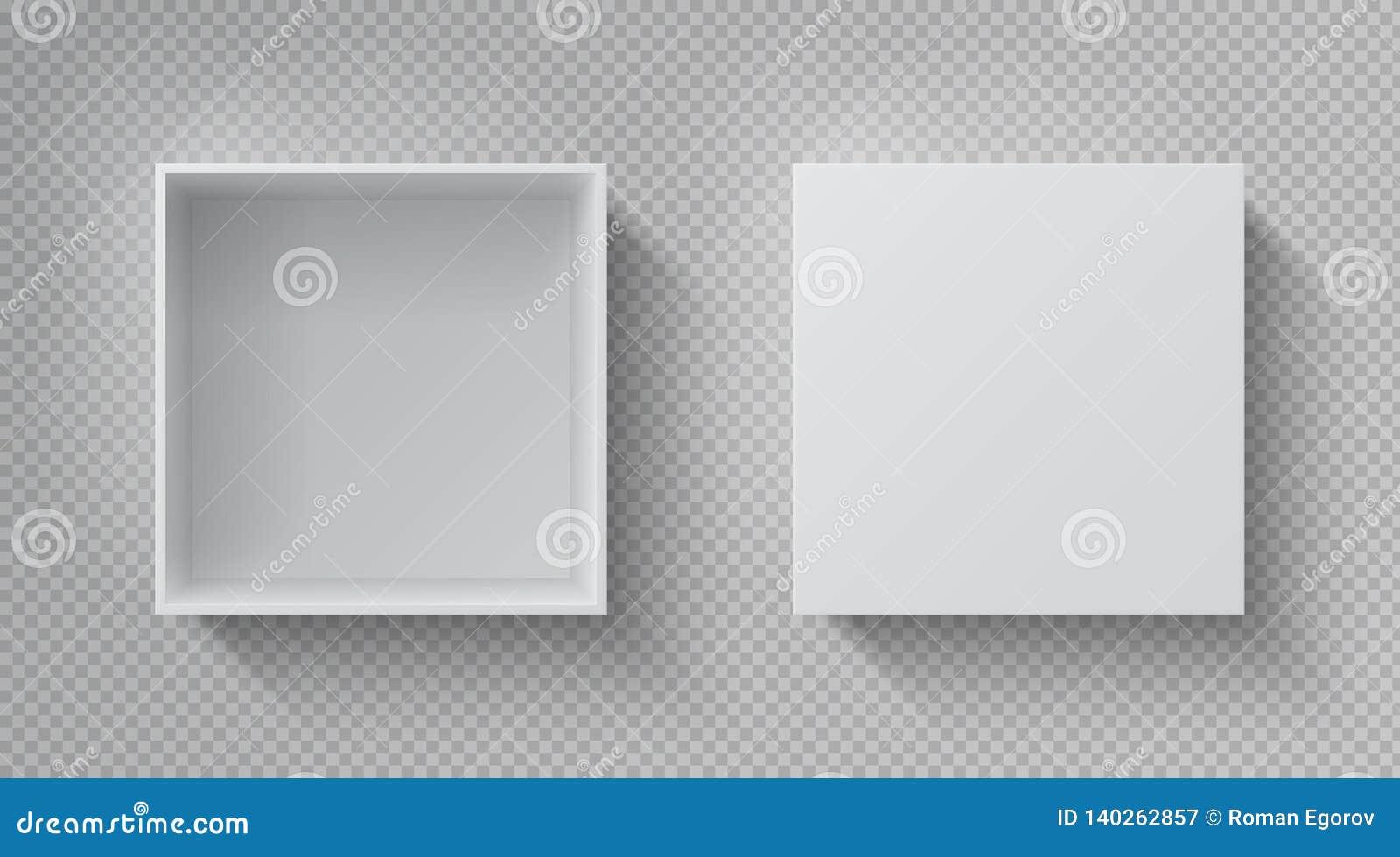 Realistyczny pudełkowaty ODGÓRNY widok Otwiera białego pakunku mockup, karton zamykająca prezenta pudełka pustego papieru paczka