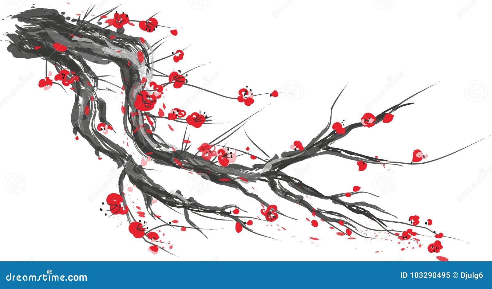 Realistyczny Sakura okwitnięcie - Japoński czereśniowy drzewo odizolowywający na białym tle