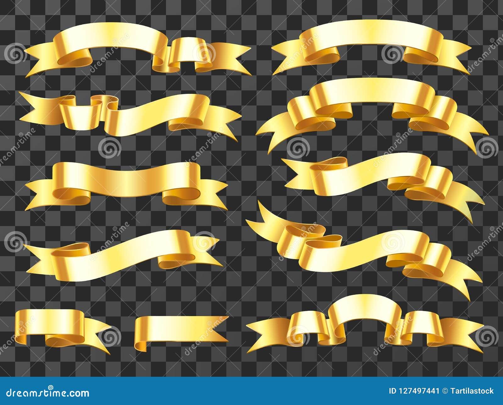 Realistyczny złocisty sztandar Złoty horyzontalny świętowanie faborek Ślimacznica faborki i nagroda sztandarów odosobniony wektor
