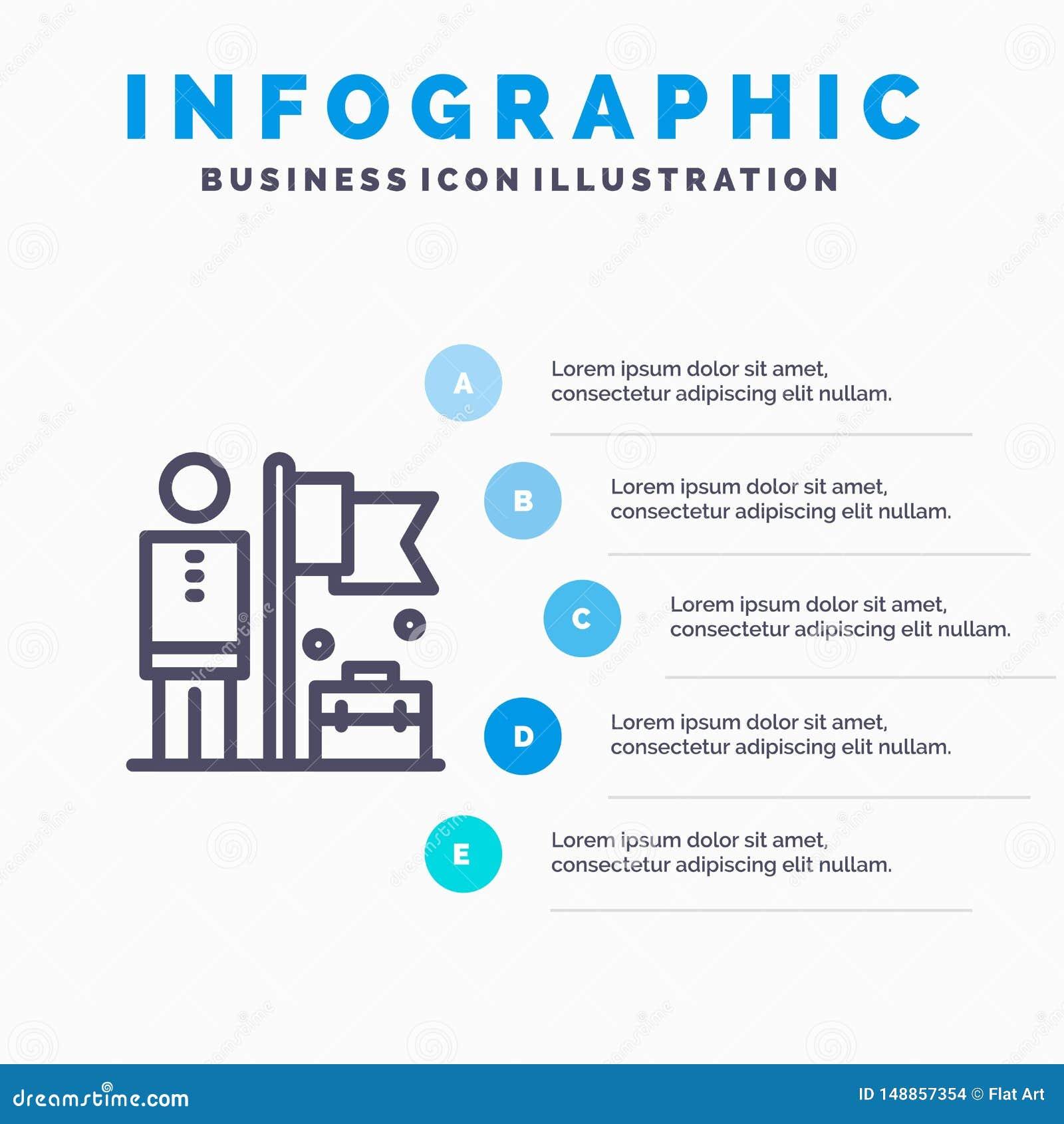 Realizado, consiga, o homem de negócios, linha de bandeira ícone com fundo do infographics da apresentação de 5 etapas