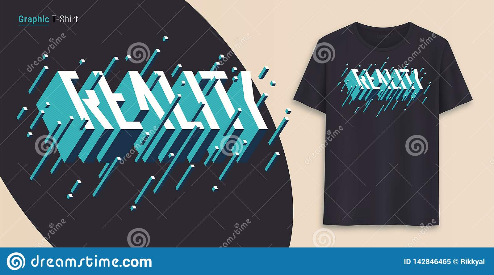 Realtà La progettazione grafica della maglietta, la tipografia, stampa con 3d ha disegnato il testo