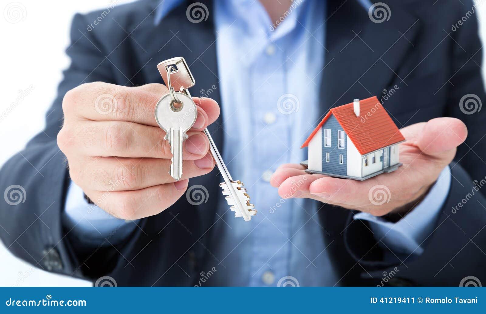 Realtor deliver with house keys