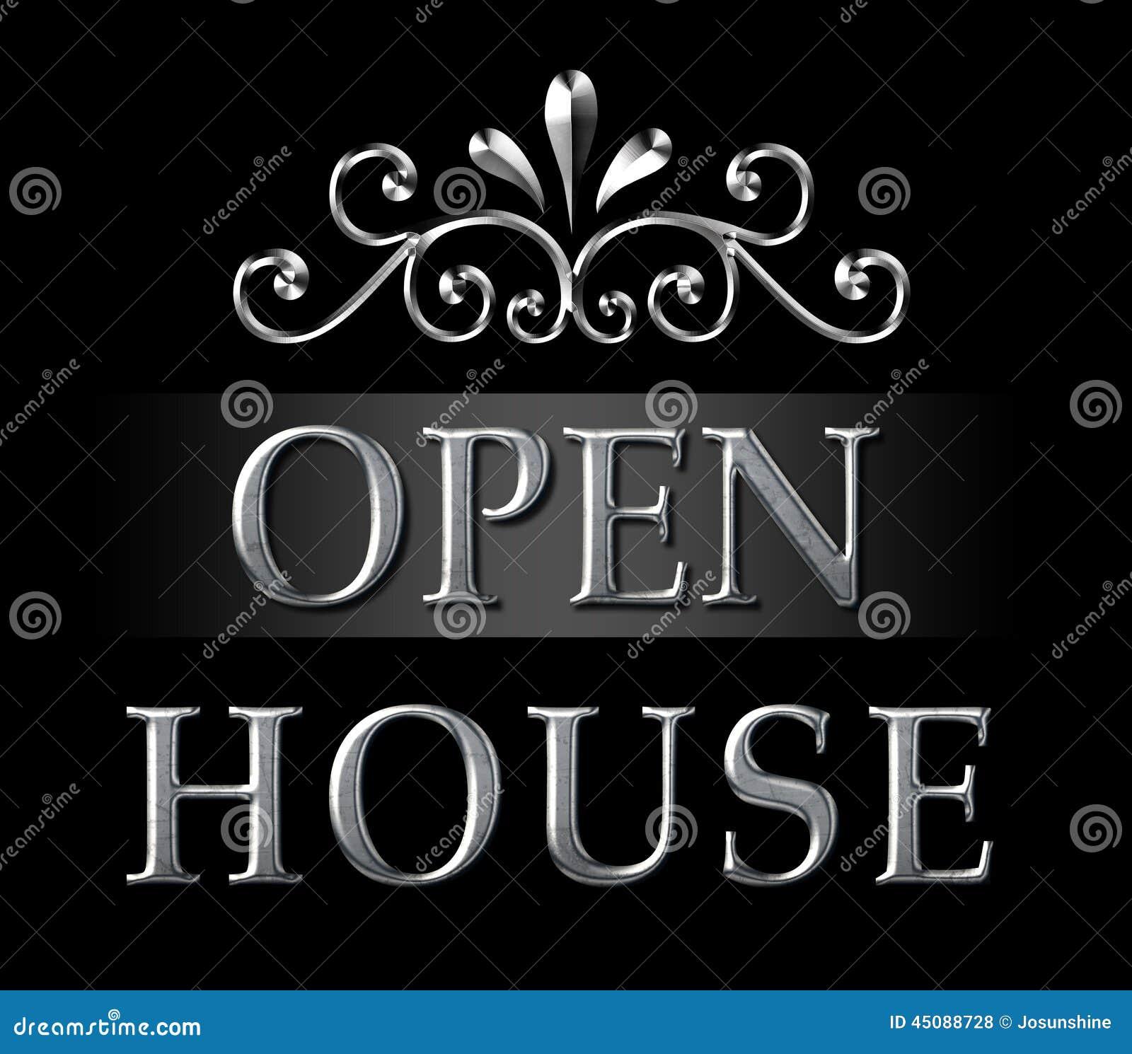 Realtor Open House Silver Sign Stock Illustration