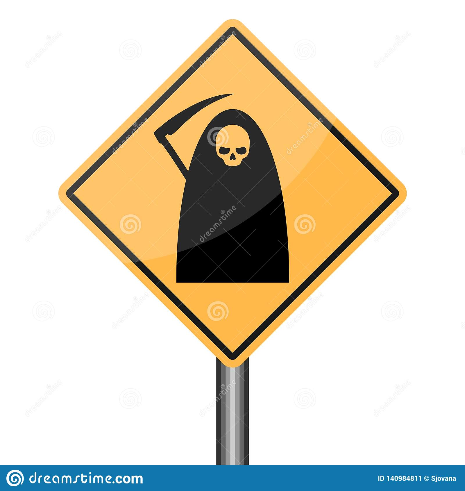Reaper warning road sign, Death Danger sign
