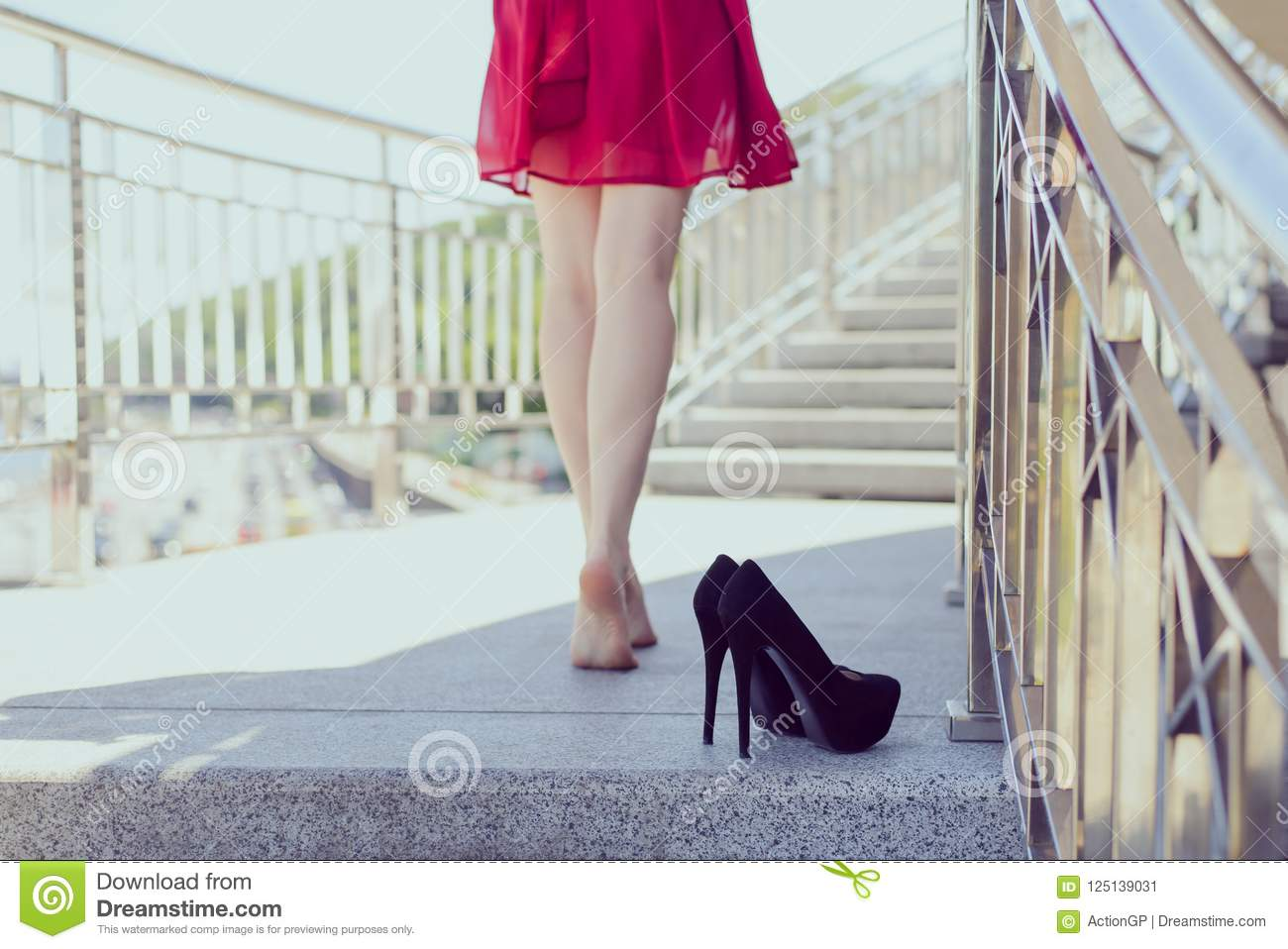 Rear behind back close up photo of fit slim long sexual tempting seductive legs concept. Beautiful carefree pretty happy girl