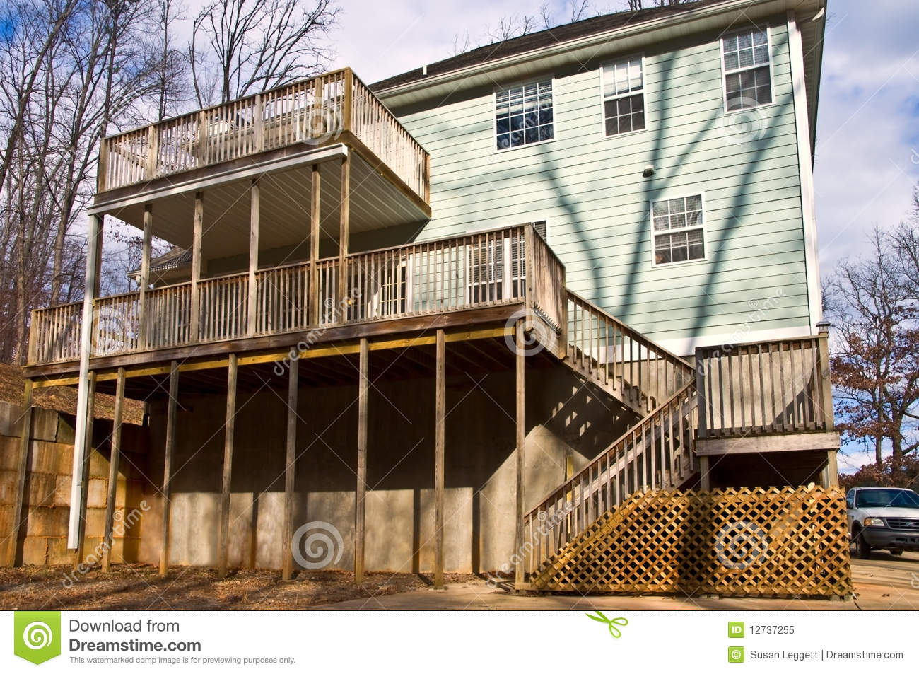 Rear Decks On A House Stock Image Of Concrete