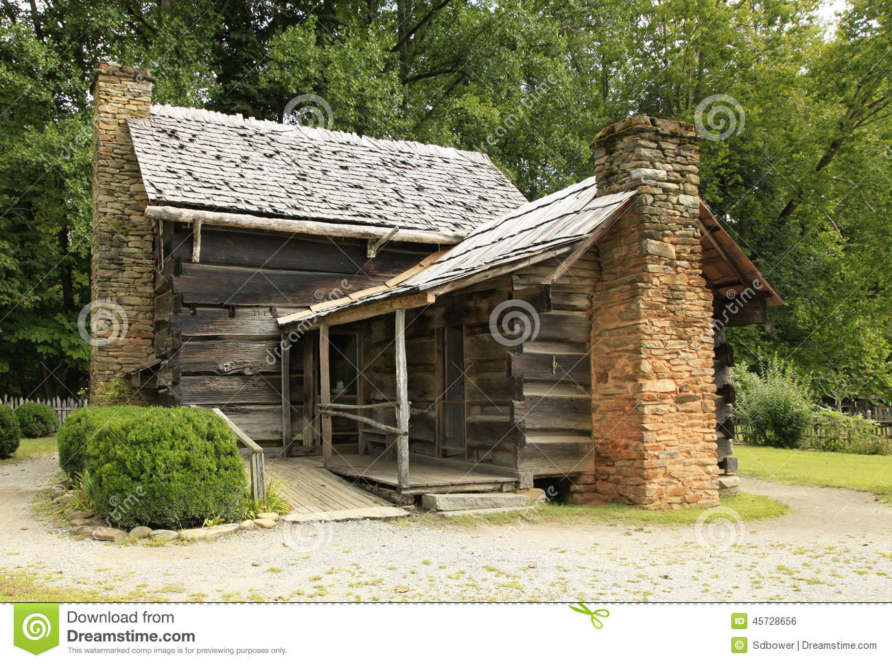 rear entrance to a pioneer log cabin stock photo image 45728656. Black Bedroom Furniture Sets. Home Design Ideas