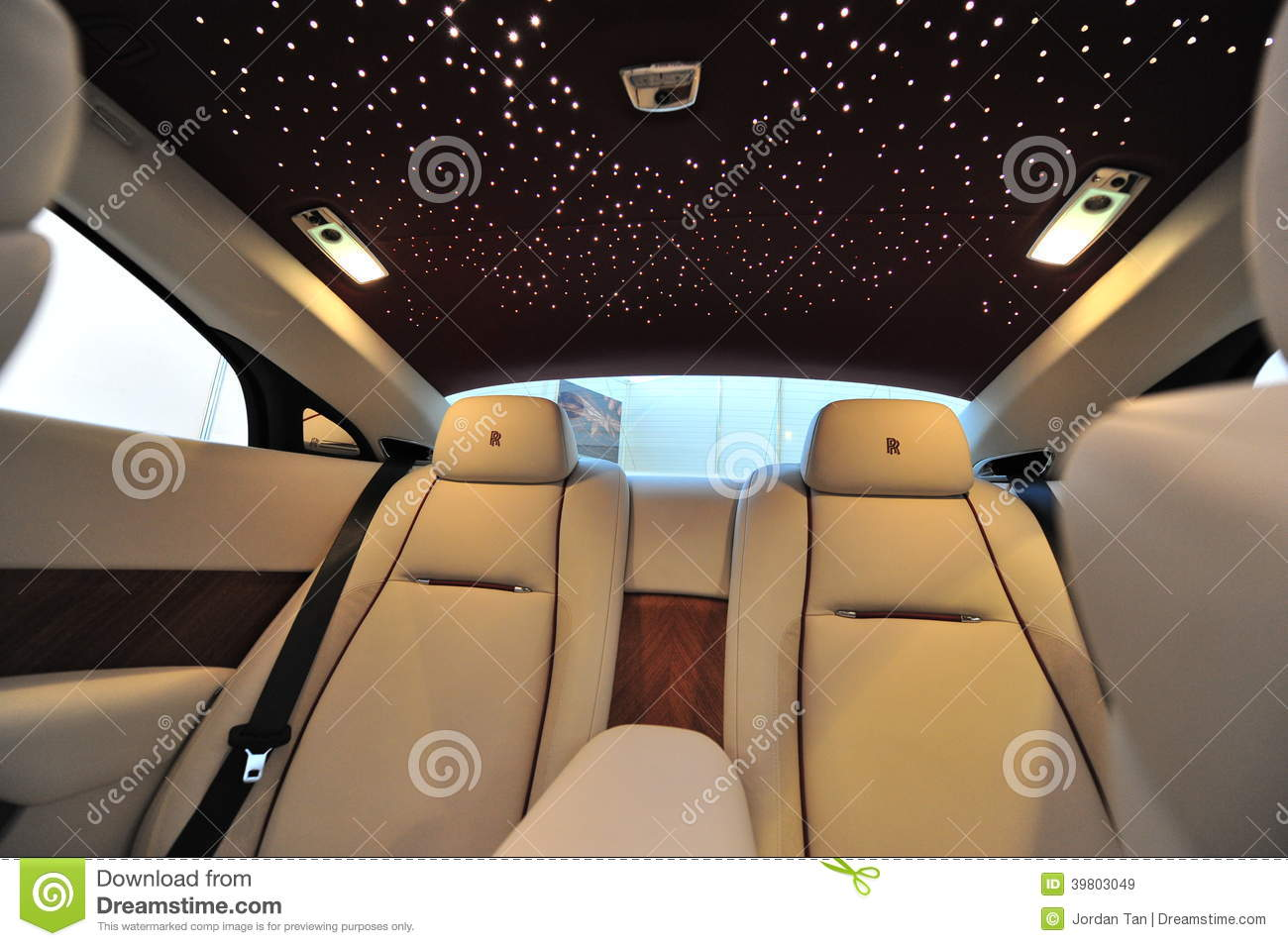 Rear Leather Seats With Star Ceiling Of The Rolls Royce