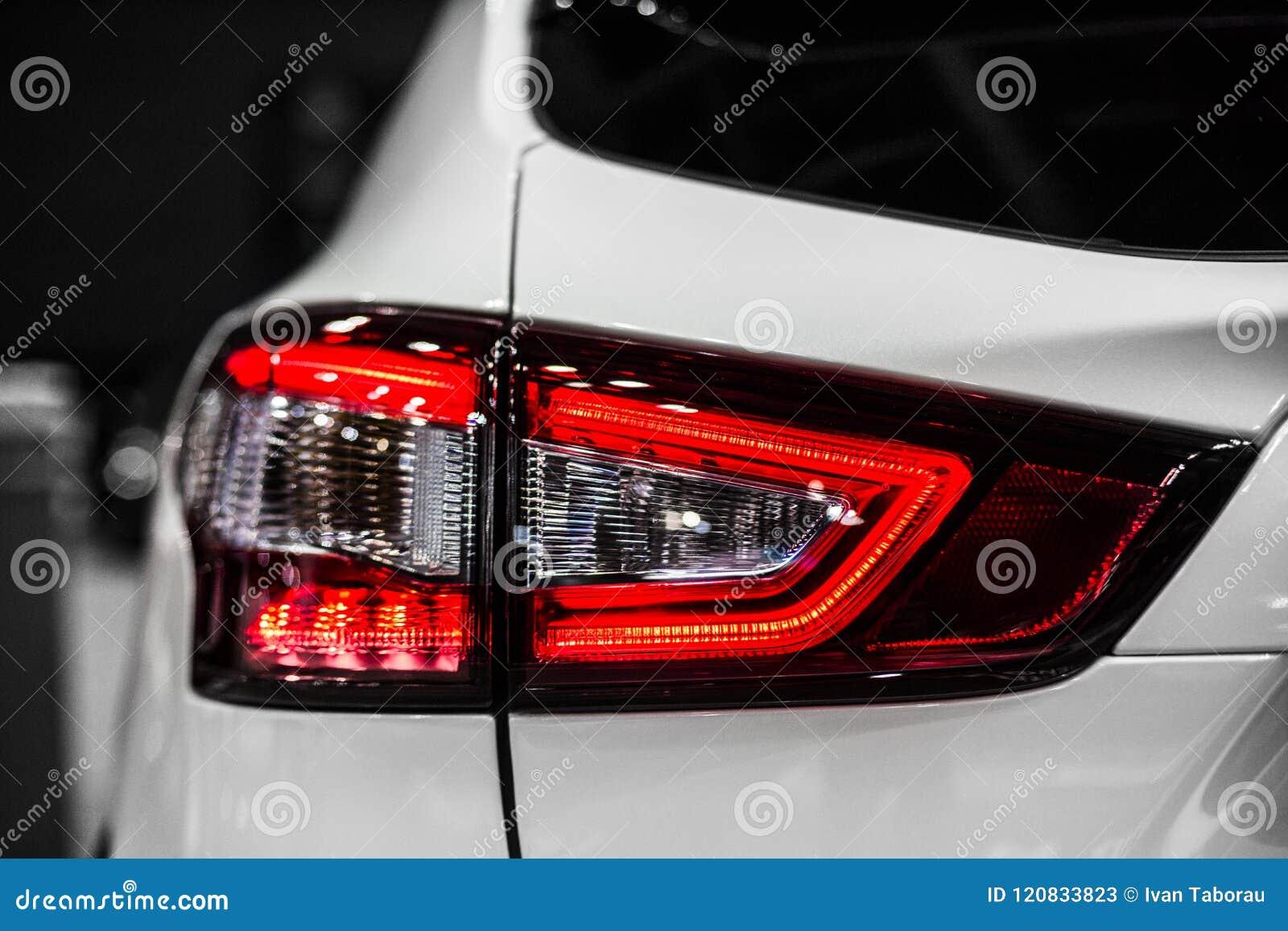 Rear stop light of white modern car