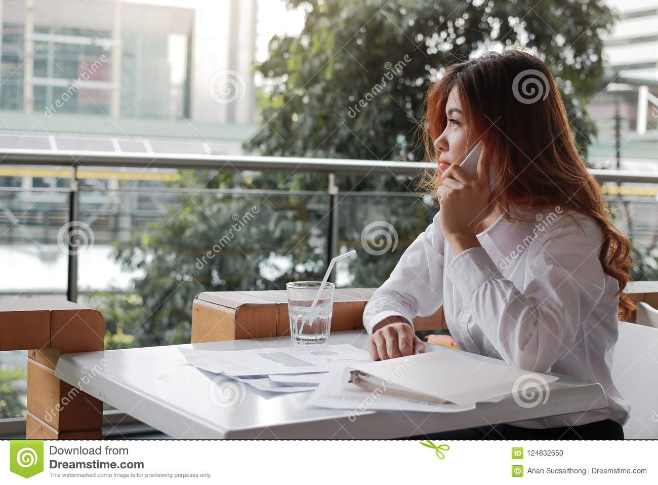 Rear view of attractive young Asian business woman talking on phone in office.
