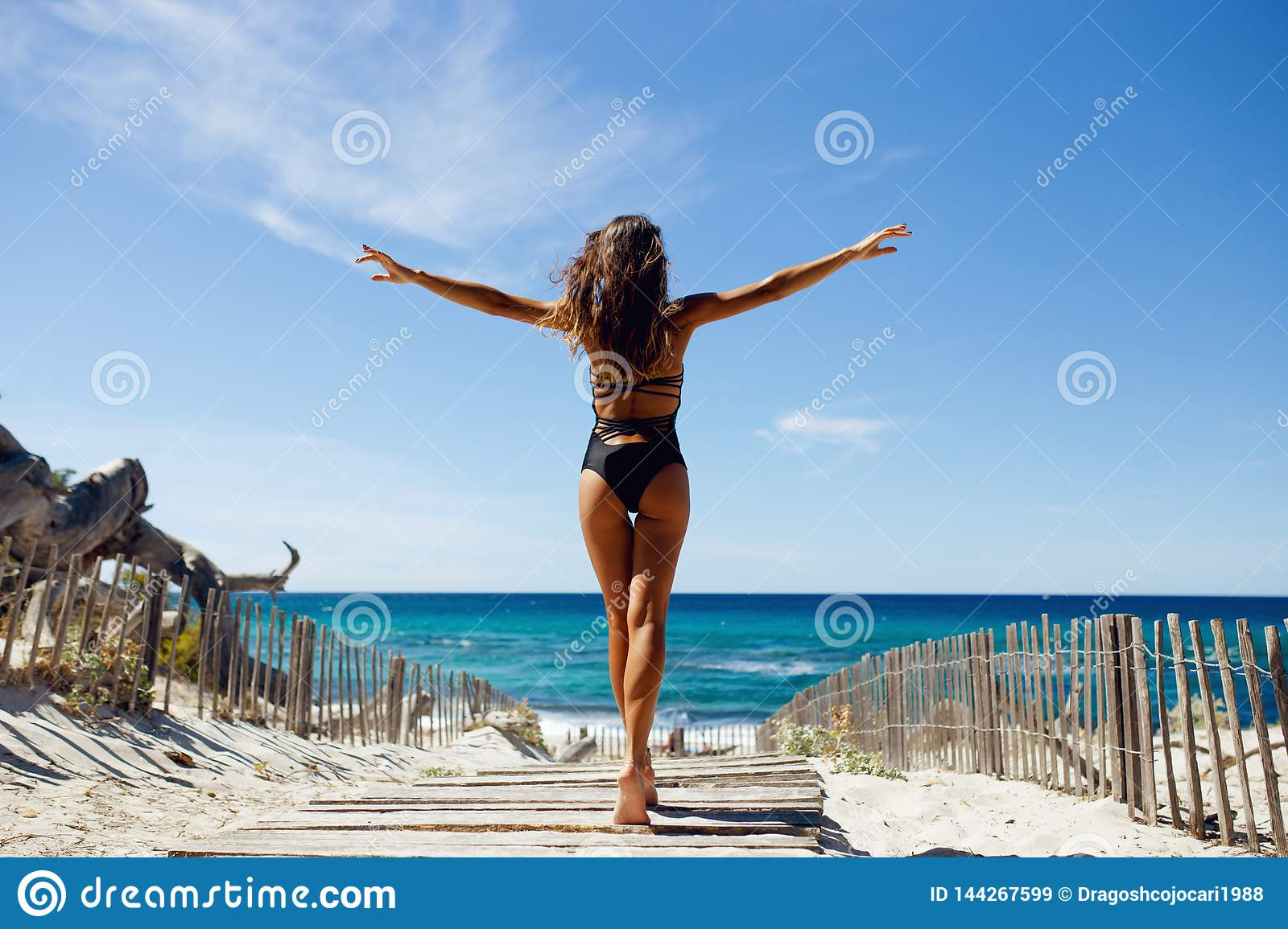 Rear view of a beautiful, brunette young girl with raised hands, looking at ocean.