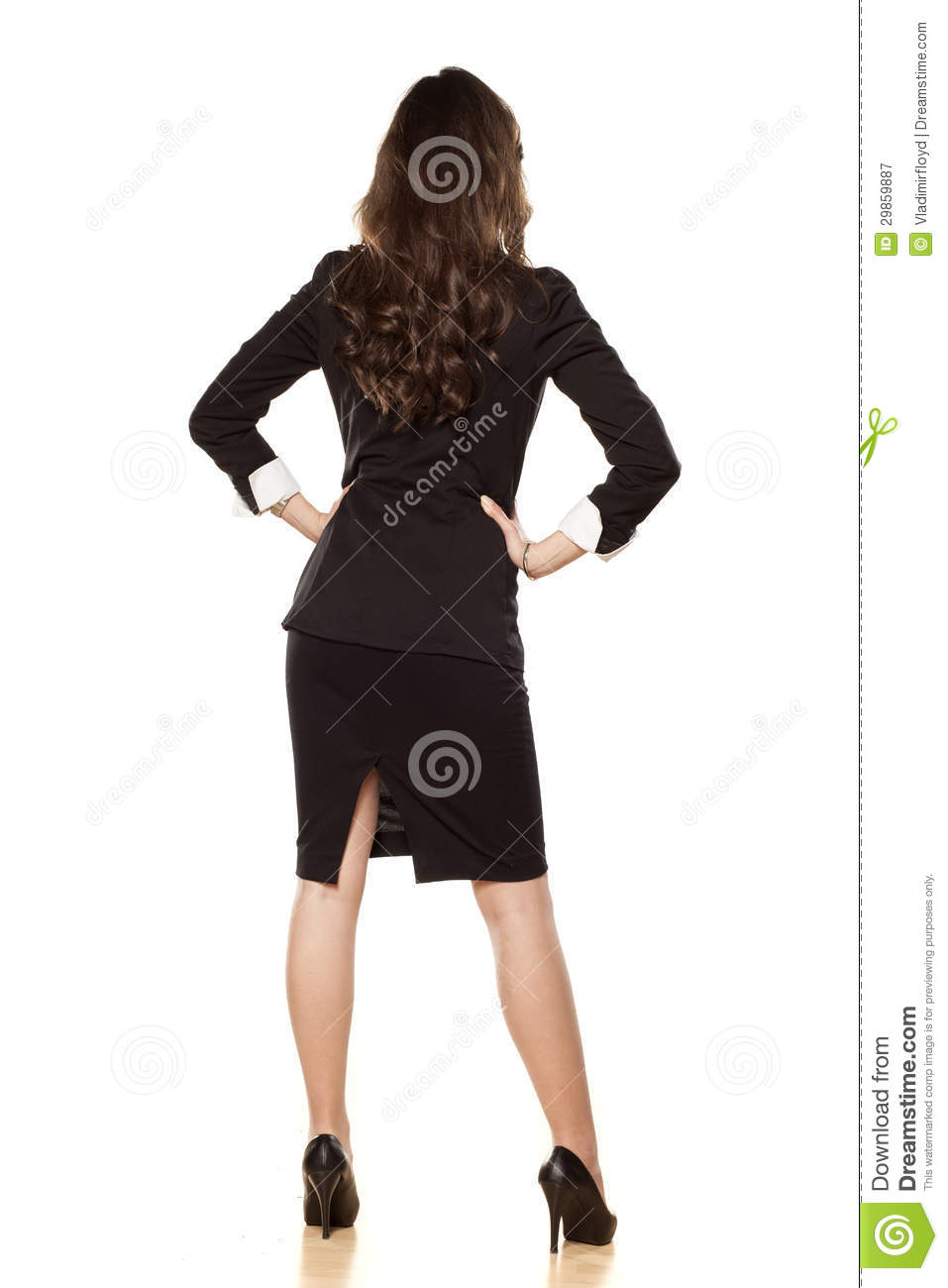 Rear view on the business woman