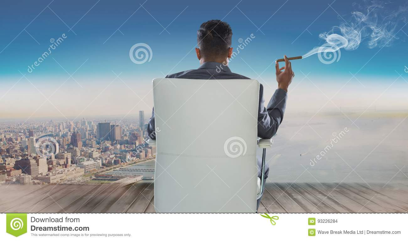 Rear view of businessman sitting on chair and looking at sea while smoking cigar