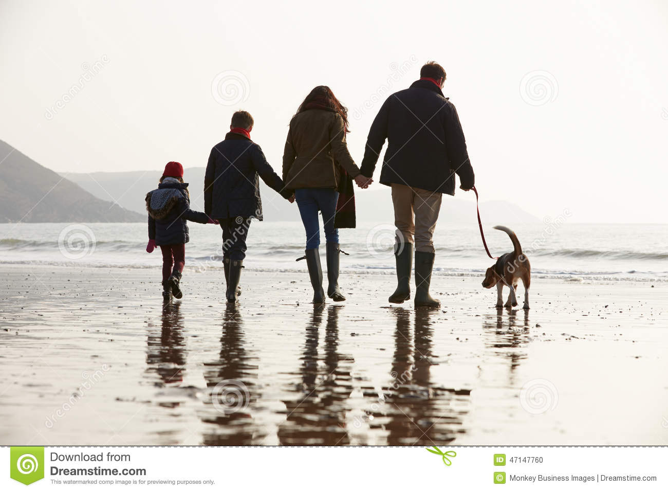 Rear View Of Family Walking Along Winter Beach With Dog Stock Photo ...