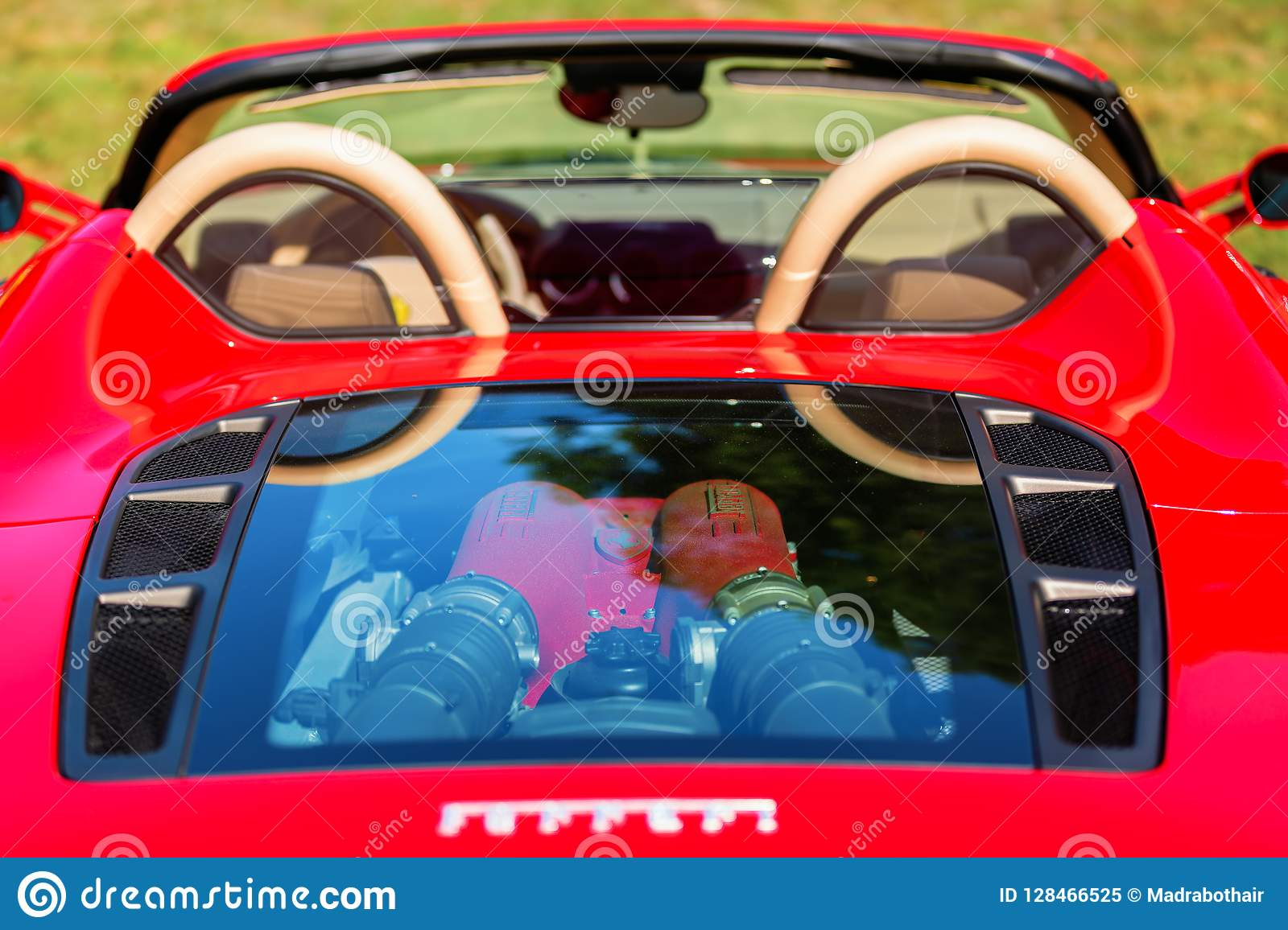 Rear View Of A Ferrari Sports Car With Visible Motor Editorial Image Image Of Ferrari Automobile 128466525