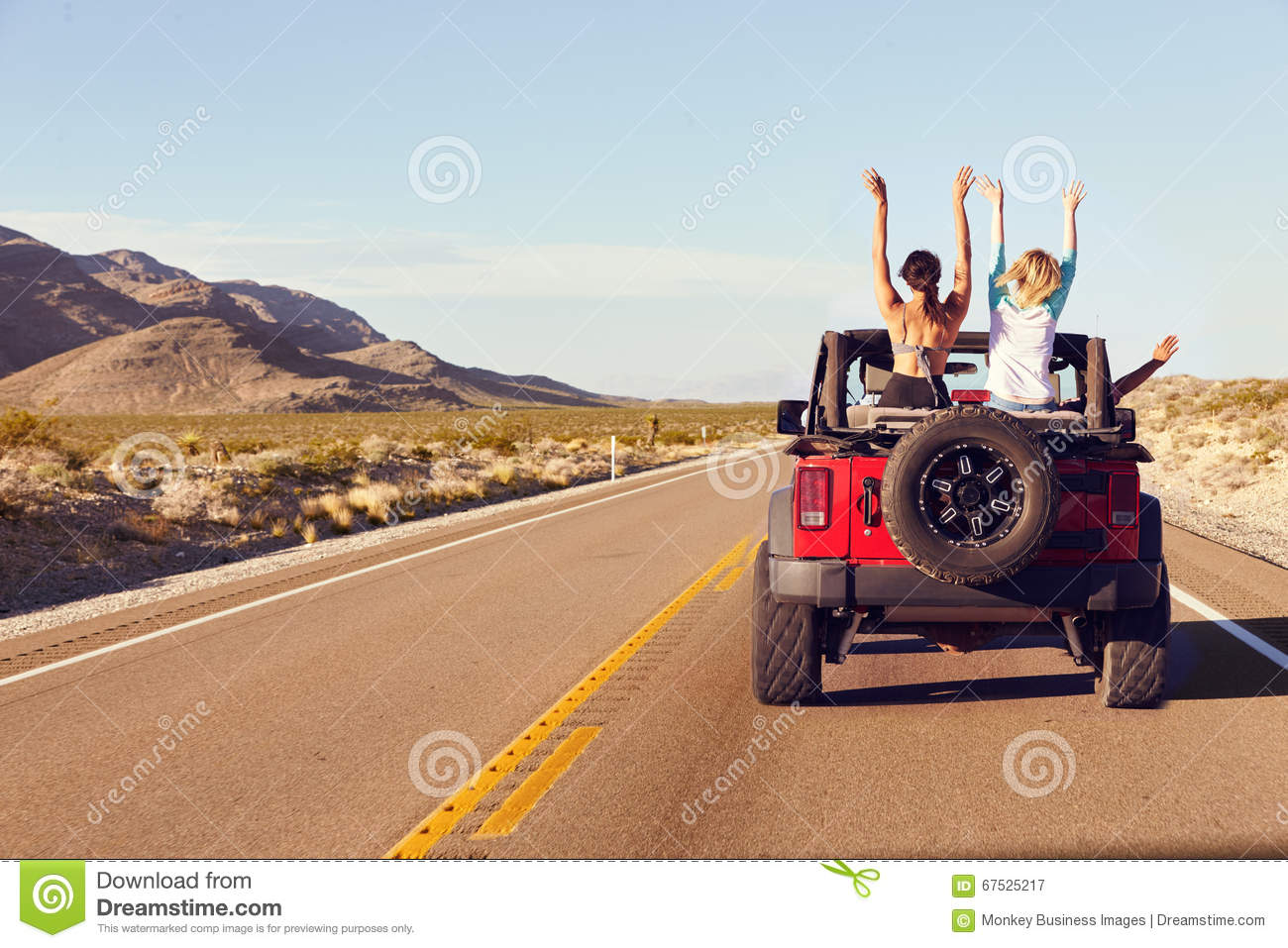 Download Rear View Of Friends On Road Trip Driving In Convertible Car Stock Image - Image of having, black: 67525217