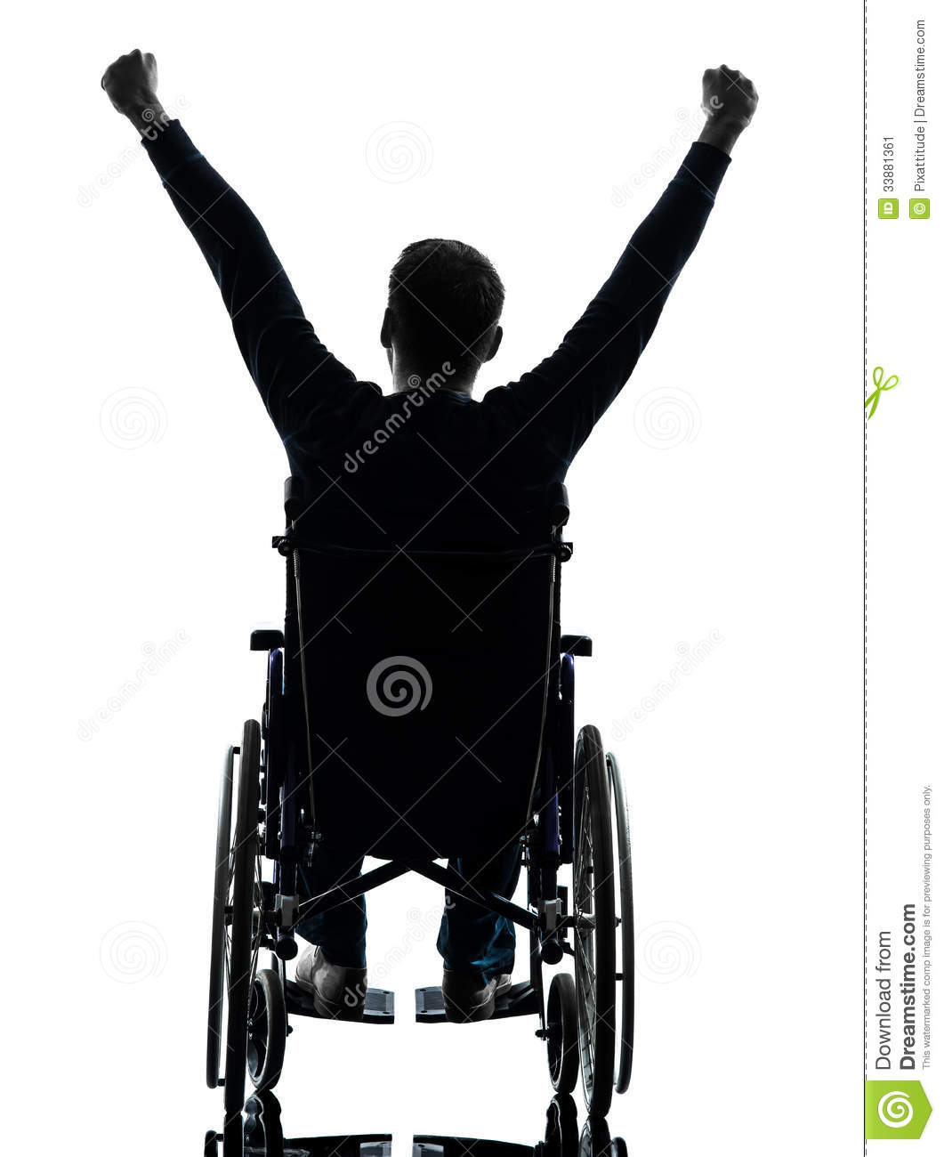 Rear view handicapped man arms raised in wheelchair Handicapped wheelchair