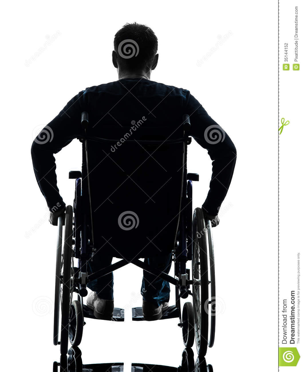 Rear view handicapped man in wheelchair silhouette stock Handicapped wheelchair