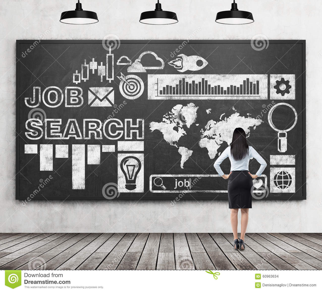 Rear view of a lady in formal clothes who is looking at the huge black chalk board with drawn icons about job search proc