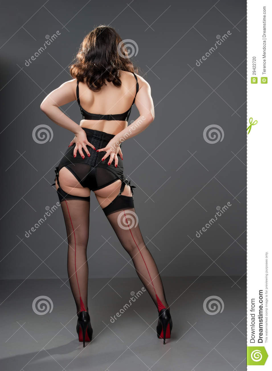 f5b6c20304b Rear View Of Lady In Retro Lingerie Stock Photo - Image of portrait ...