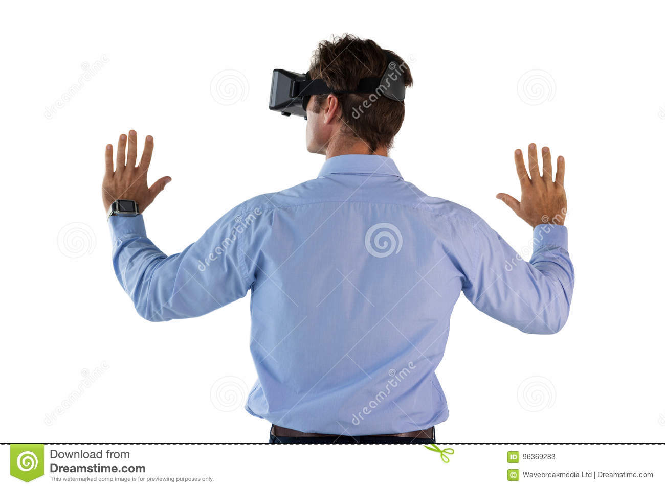 Rear View Of Man Wearing VR Glasses Stock Image - Image of male