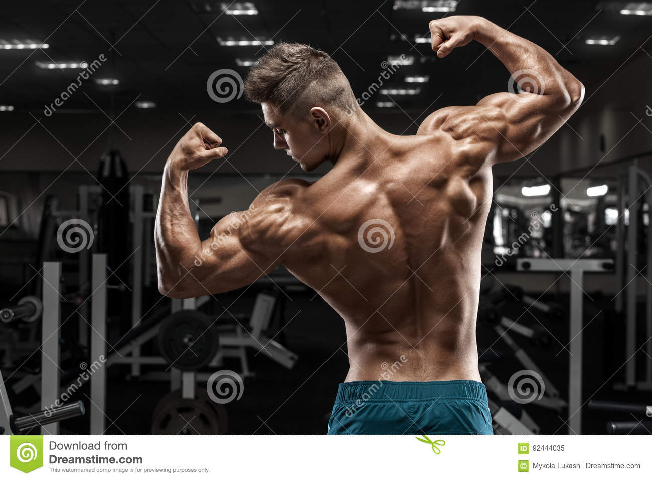 Handsome Power Athletic Man On Diet Training Pumping Up