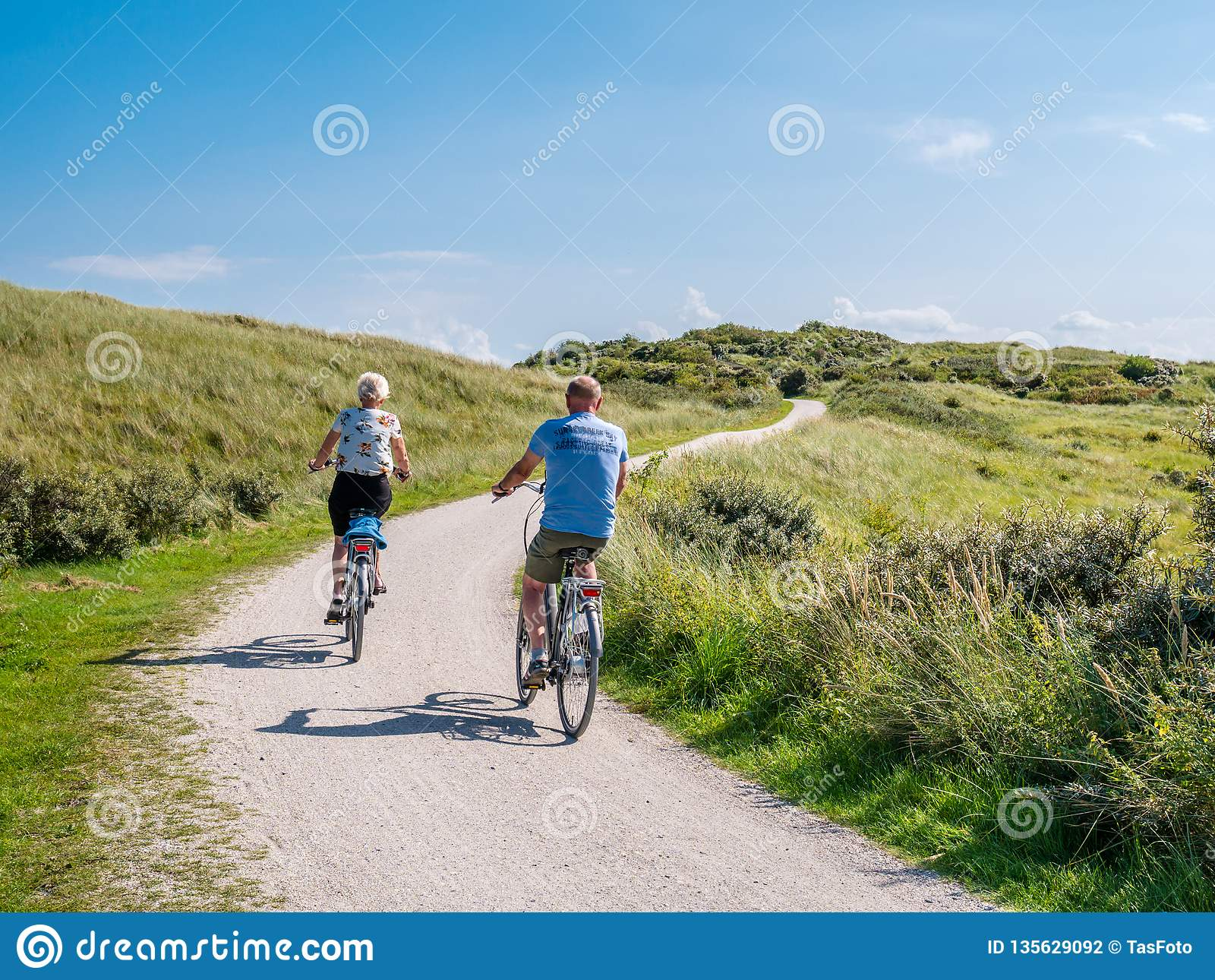 Rear view of people riding bikes on bicycle path in dunes of nature reserve Het Oerd on West Frisian island Ameland, Netherlands