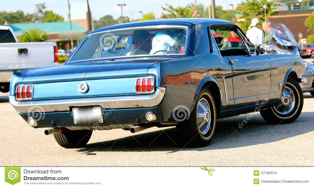 Rear View Of A 1960's Model Blue Ford Mustang Editorial Stock ...