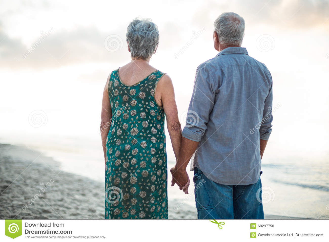 Rear view of a senior couple holding hands