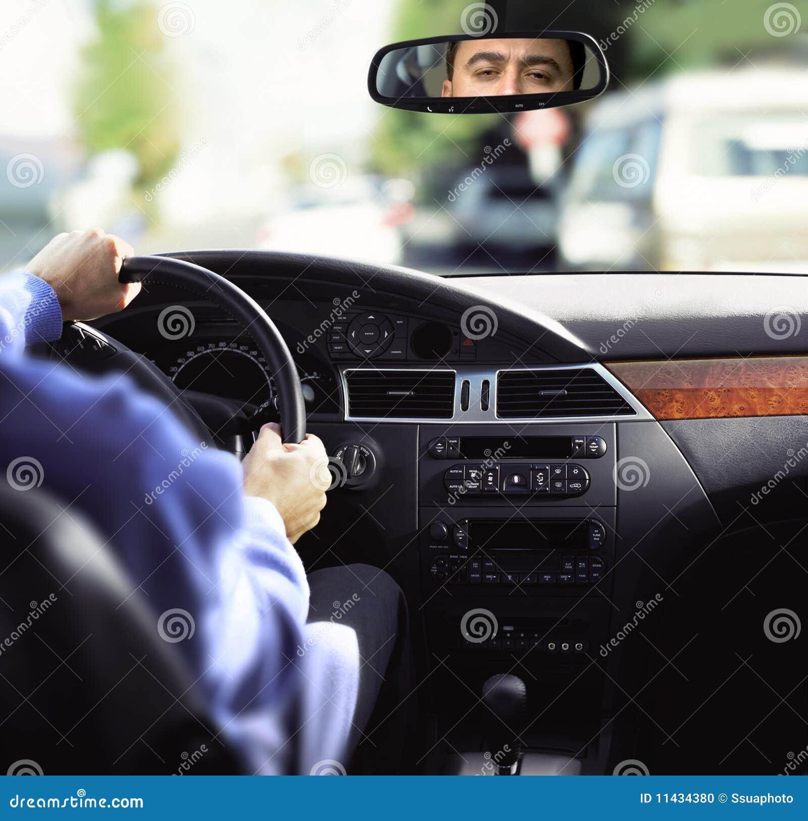 Rear-view spiegel en dashboard