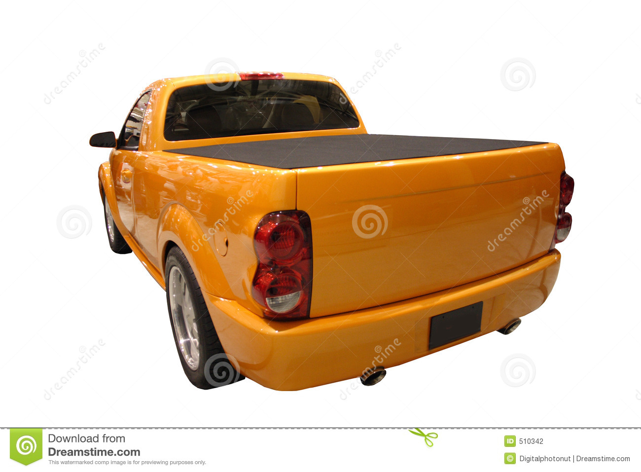 Rear View Of A Sporty Dodge Ram Pickup Truck Isolated Over White