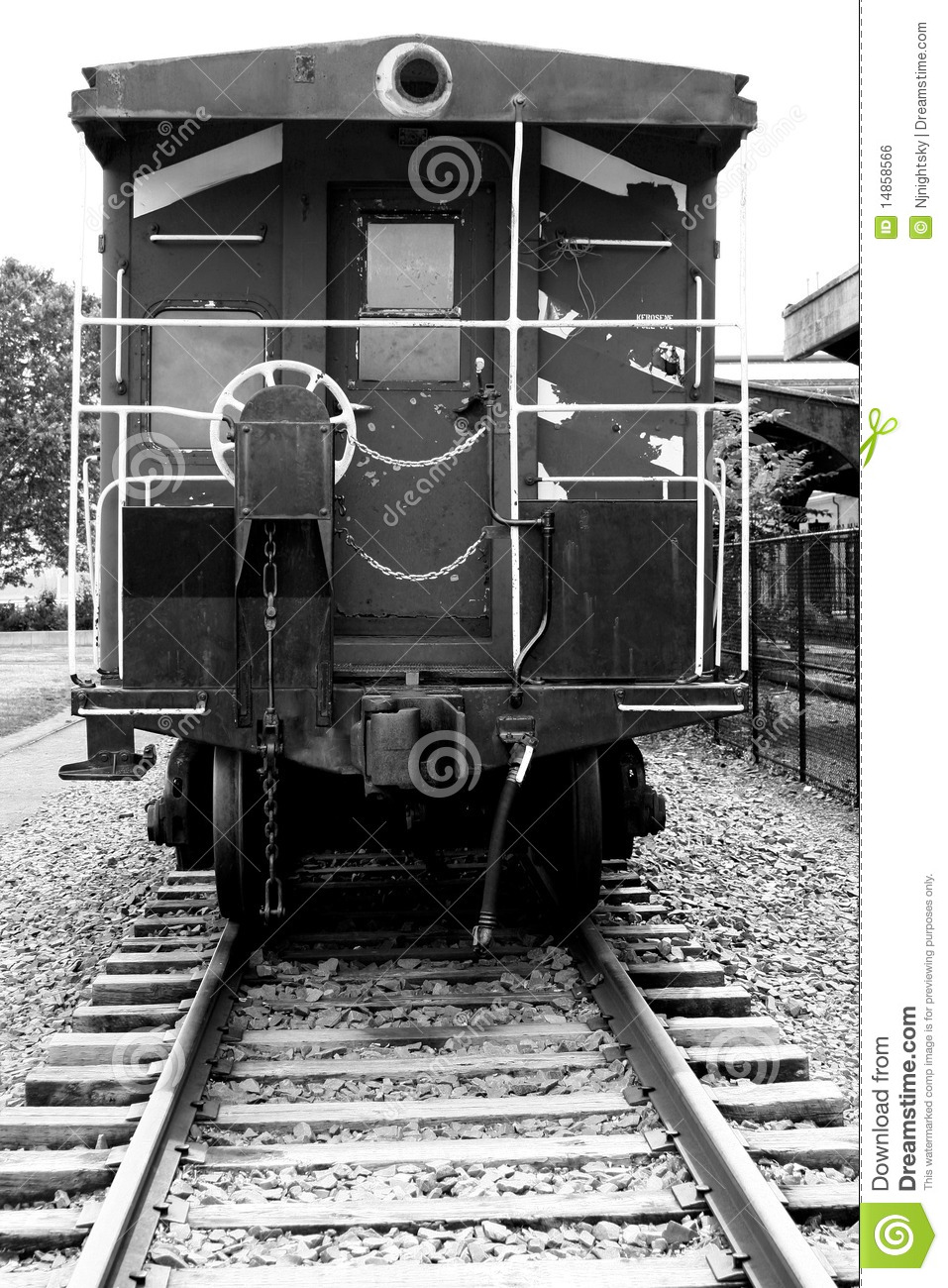 Rear view of a train caboose