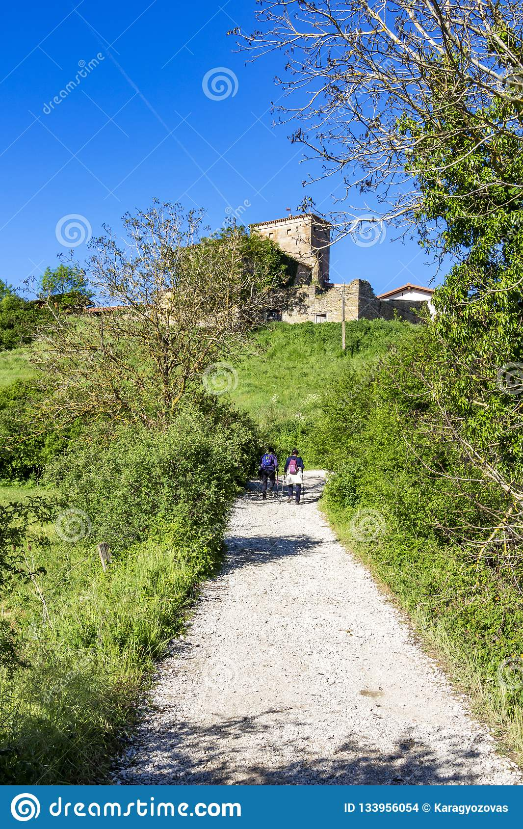 Rear view of two female pilgrims on the Way of St. James, Camino de Santiago at Akerreta, Spain