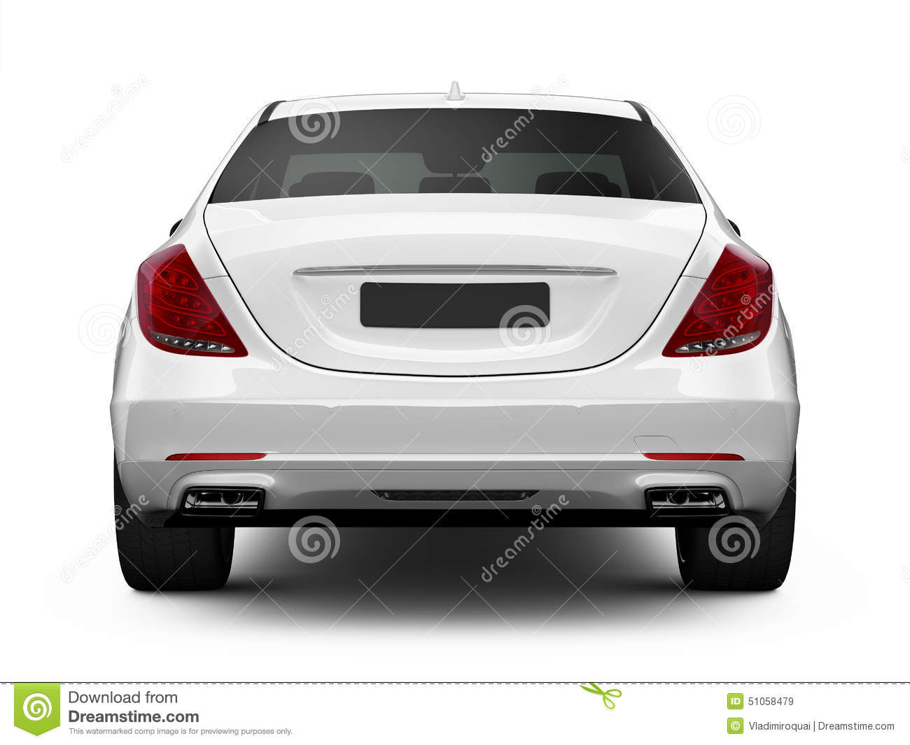 Rear View Of White Luxury Car Stock Illustration Illustration Of