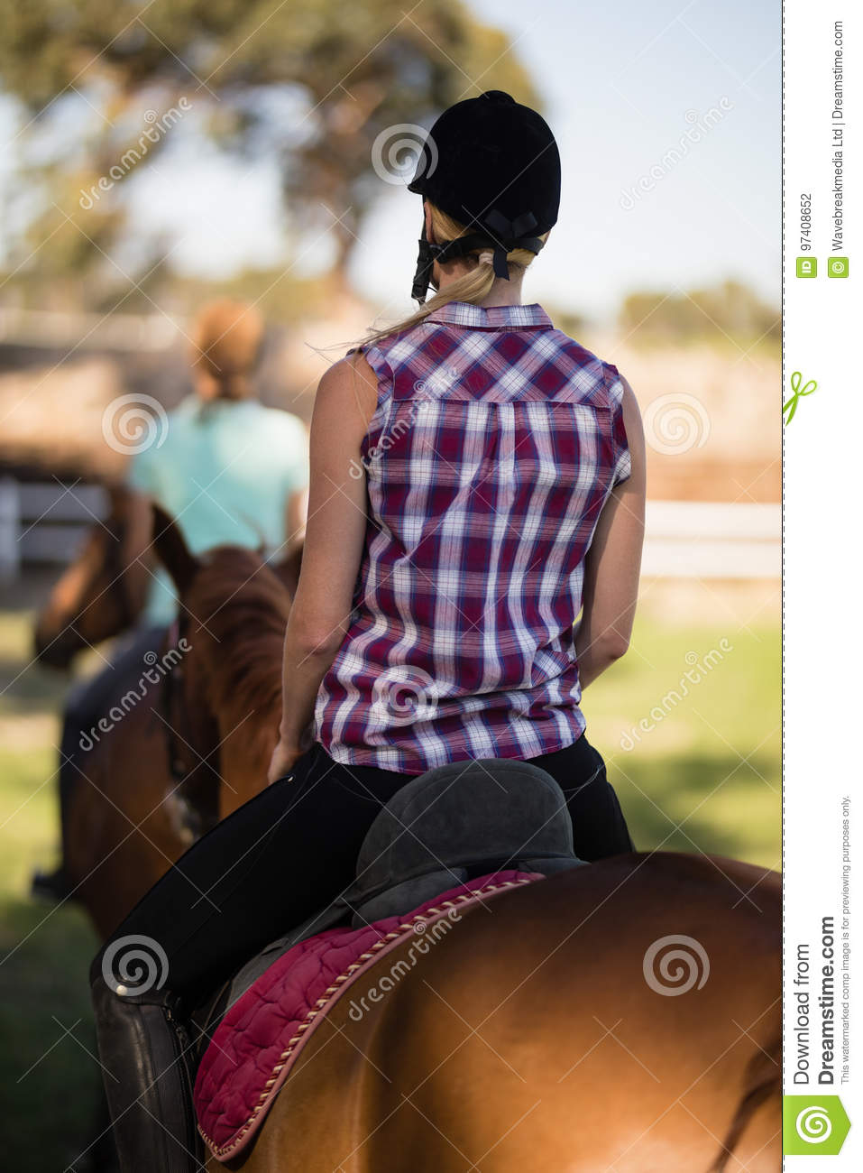 Rear view of woman horseback riding with friend sitting on horse in background