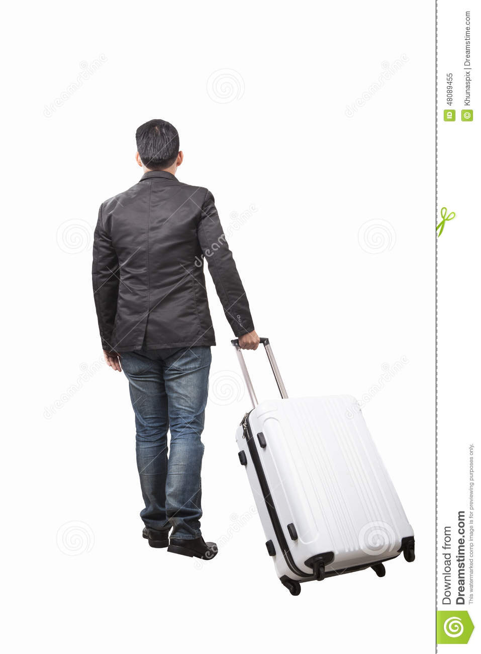 Rear View Of Young Man And Pulling Belonging Luggage Walking To Stock ...