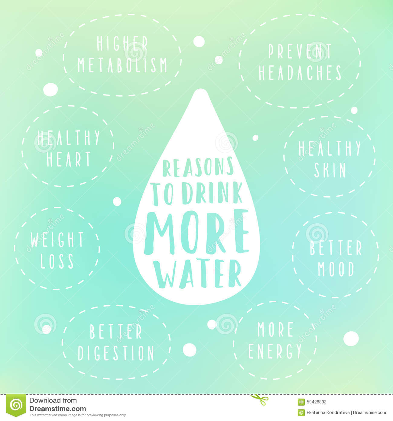Reasons To Drink More Water Stock Vector
