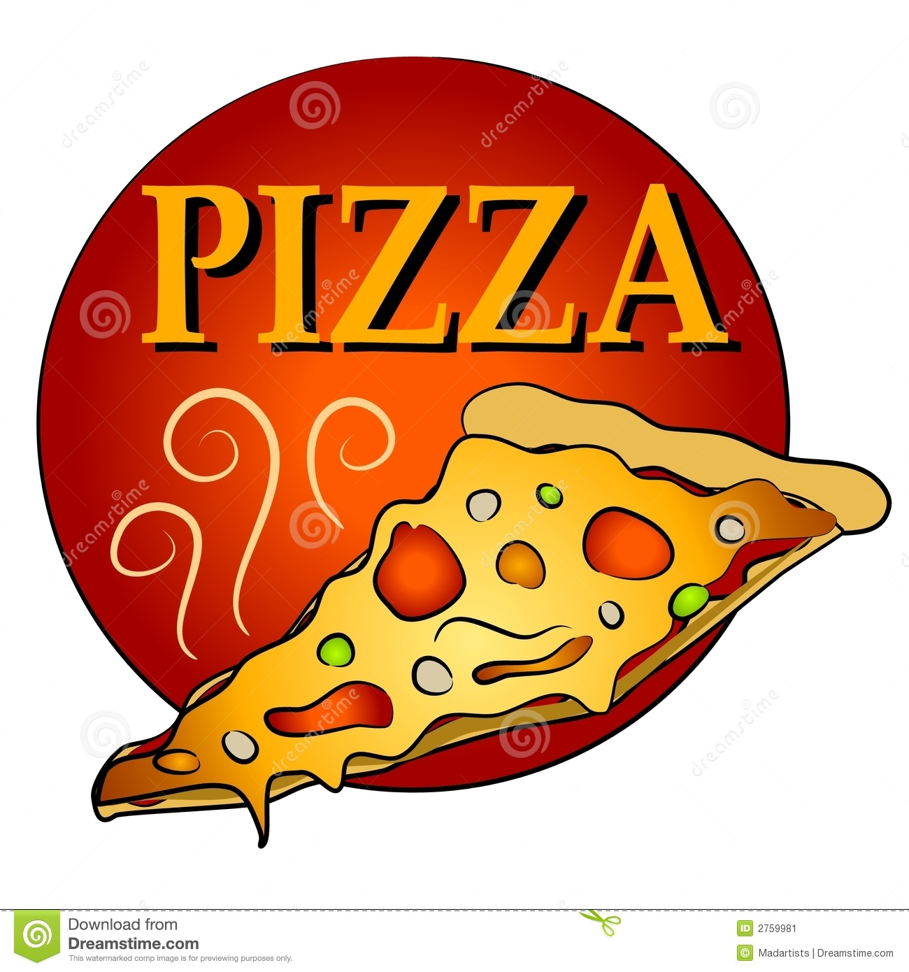 Rebanada de pizza caliente Clipart