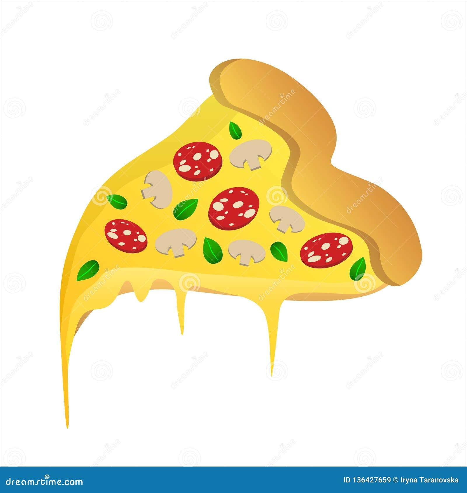 Rebanada de pizza con los salchichones y el queso