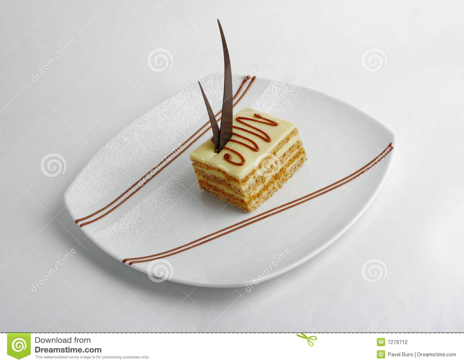 Rebanada de torta de la vainilla
