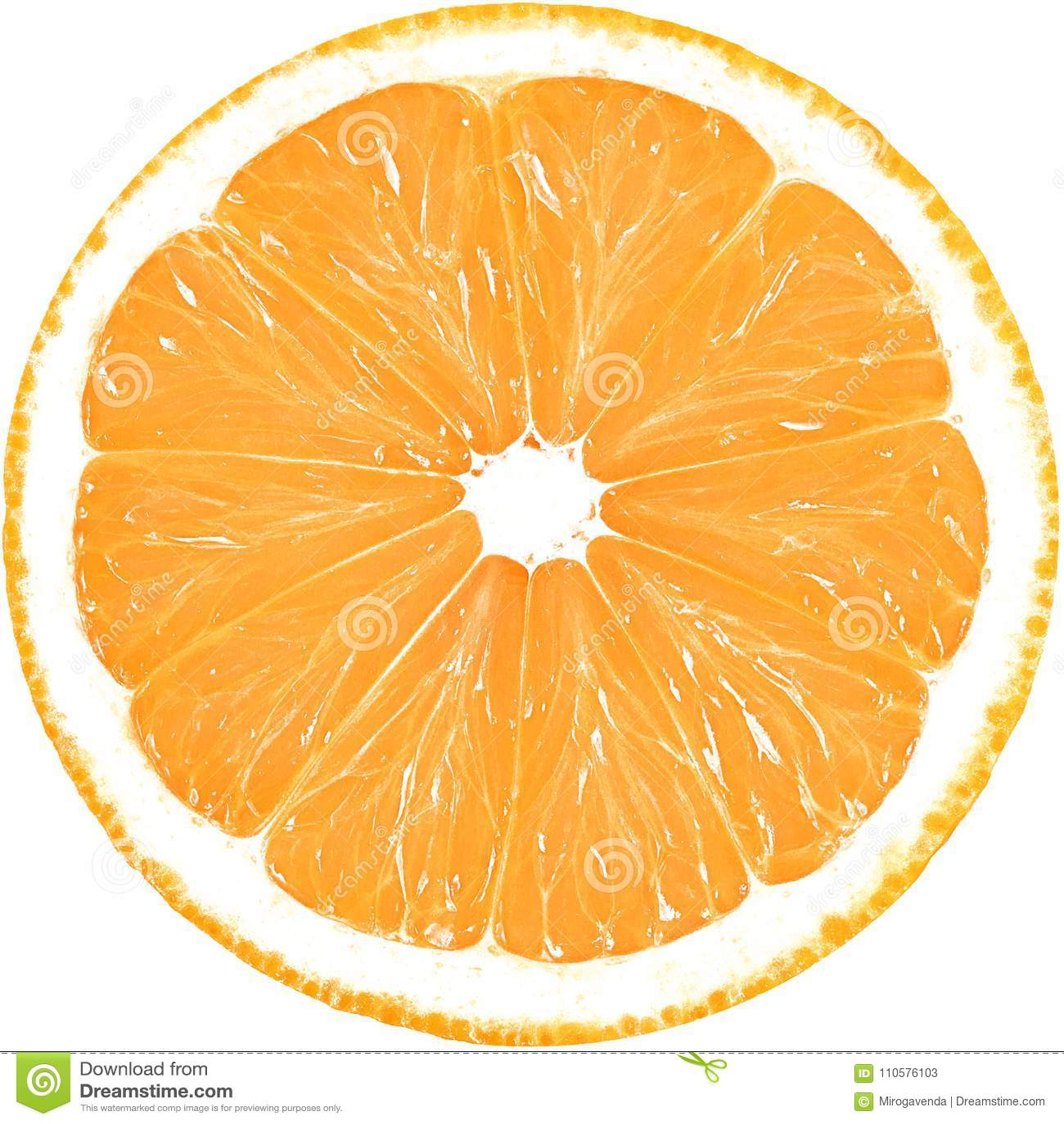 Rebanada jugosa de naranja aislada en un fondo blanco con la trayectoria de recortes