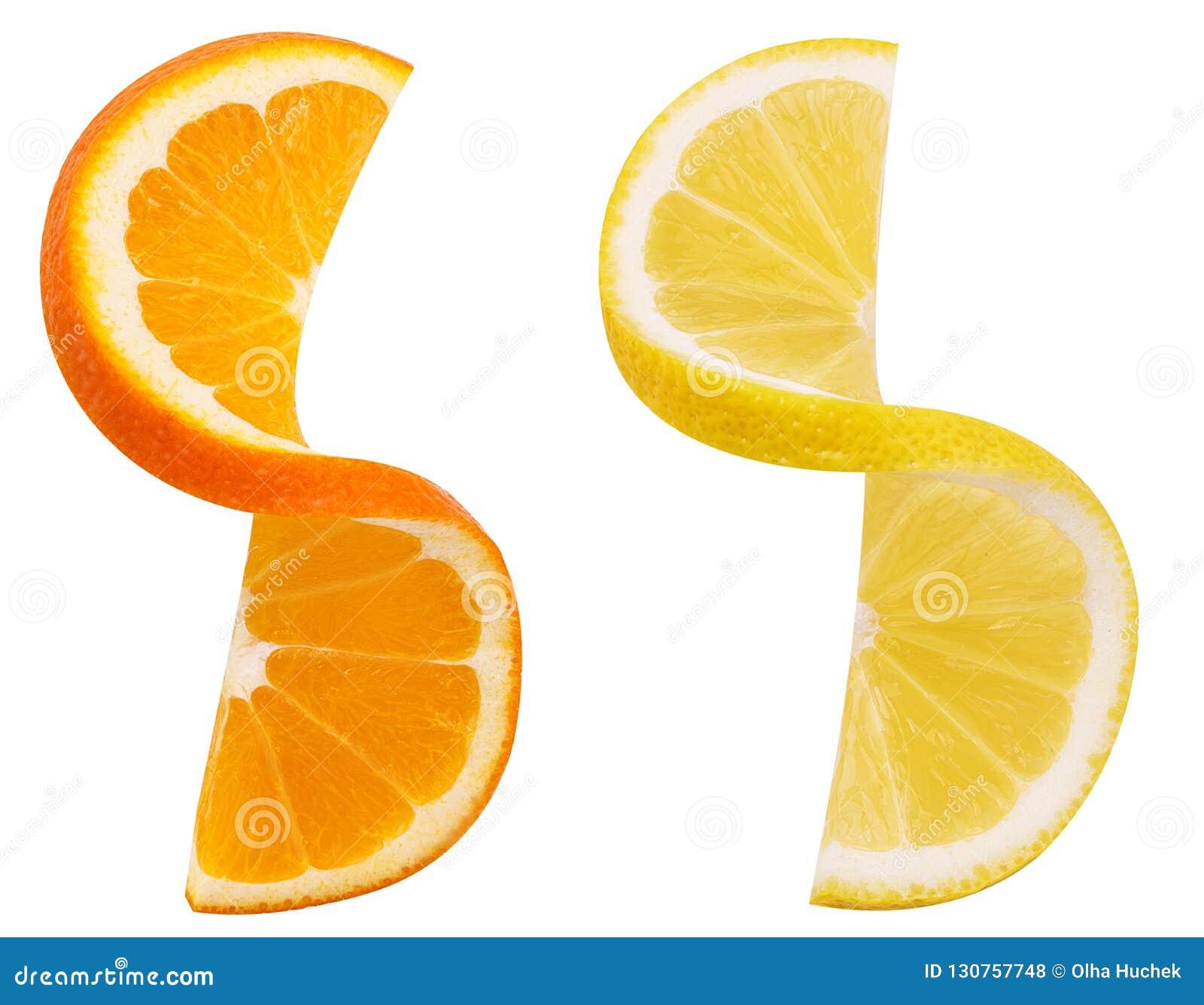 Rebanada torcida fruta de la naranja y del limón