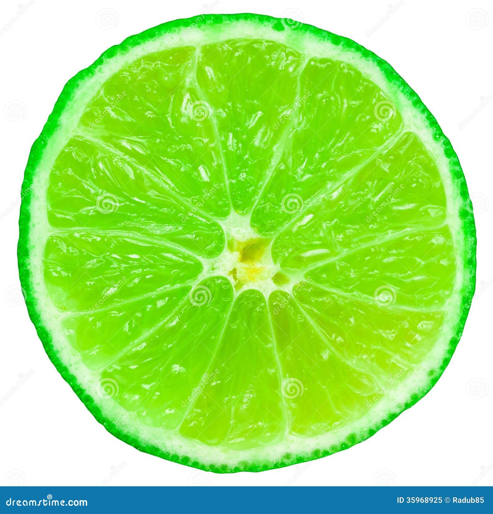 Rebanada verde de la fruta de la cal
