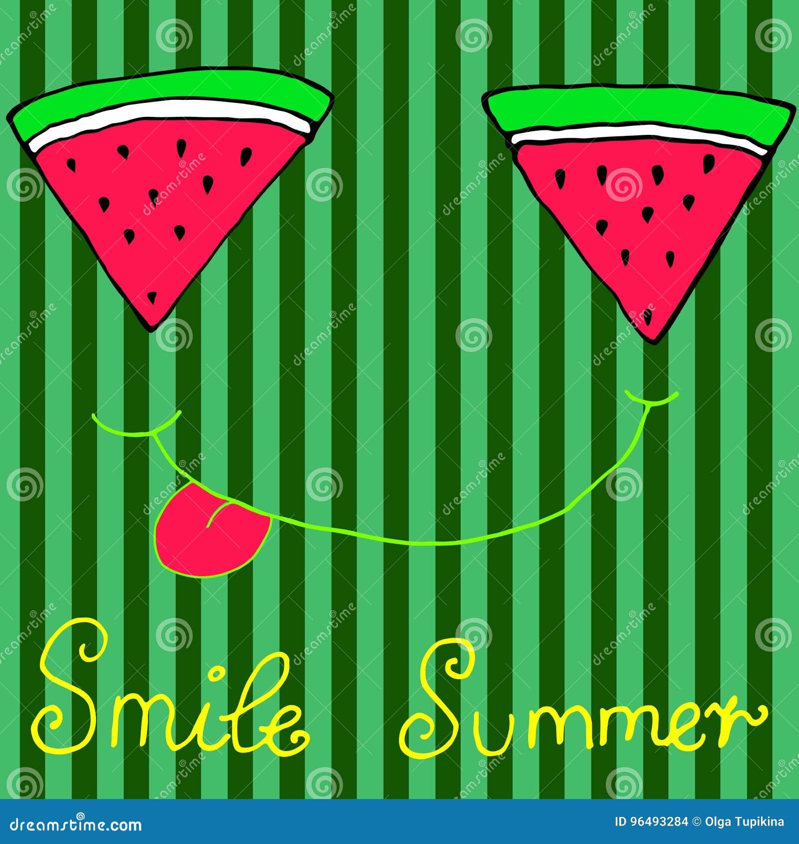 Rebanadas cortadas alegres de la sandía, sonriendo mostrando la lengua, aislante