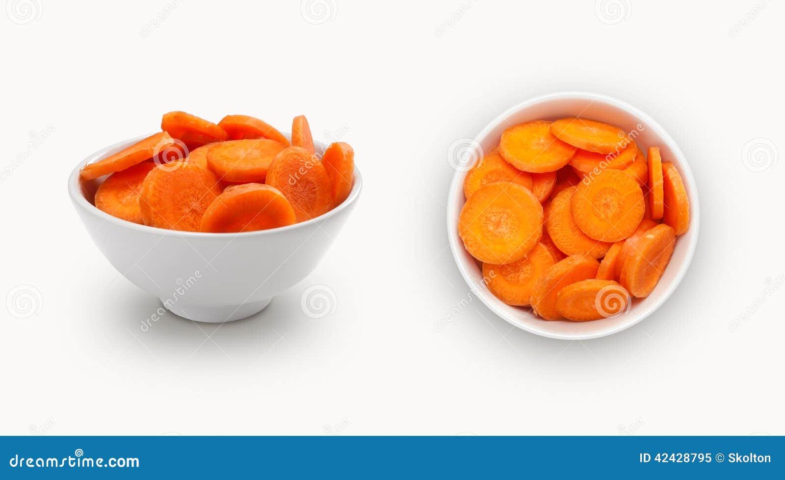 Rebanadas de la zanahoria en un cuenco